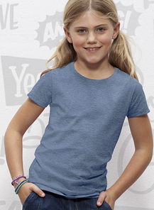 Kinder-Shirt (tailliert) blau meliert | 98-104 (3/4)