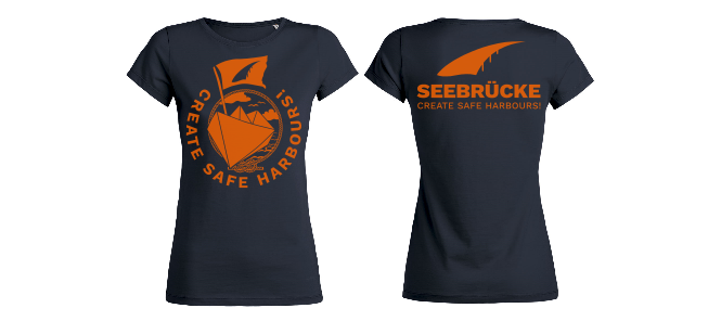 Seebrücke (navy/orange) - Shirt (Mädels*) XS