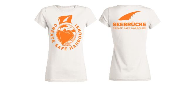 Seebrücke (weiß/orange) - Shirt (Mädels*)